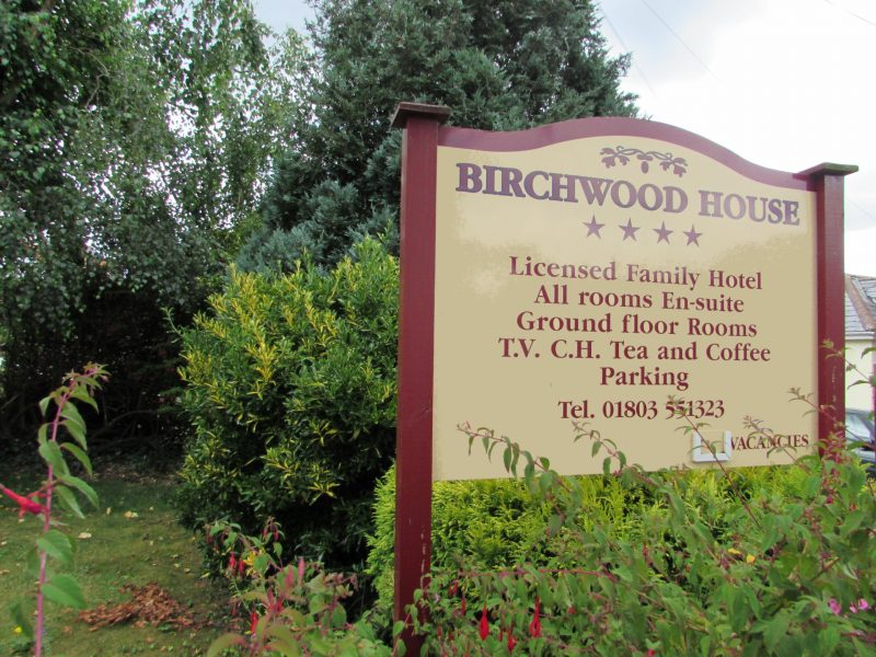 Birchwood House Paignton Bed Breakfast sign torbay